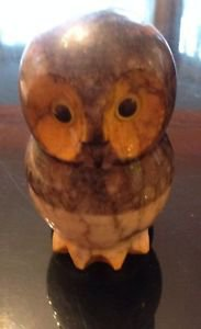 VTG Alabaster Hand Carved Owl Figurine Paperweight Made in Italy
