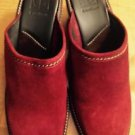 COLE HAAN RED SUEDE LEATHER MID HEEL MULE CLOG 11B  $248.00 Made In Brazil