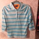 NWOT Burberry Golf Shirt Sky Blue and Blue Stripes SZ S