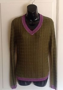 NWOT Missoni for Target Forest Green High Twist 100% Rayon V Neck Sweater SZ L