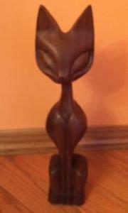 Mid Century Modern Teak CAT Sculpture Wood Cut Siamese 19'' x 4'' Statue Figure