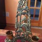 Vintage Antique Israeli Brass/Bronze Jewish Candlestick Candle Holder JUDAICA