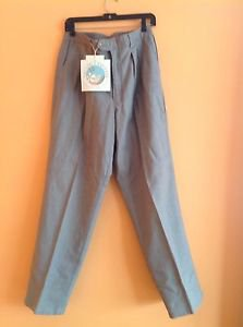 NWT Vacation Express Gray Pleated Front Linen Blend Trousers Khaki Pants SZ 36