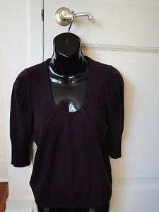Authentic Miu Miu/ Prada 100% Wool Short Sleeve Scoop Neck Plum Sweater Sz M