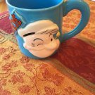 EUC VTG Pop Out Popeye Sky Blue Ceramic Mug 1993 Handprinted