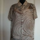 True VTG Givenchy Silk Chiffon Multicolor Giraffe Print Short Sleeve Camp Shirt