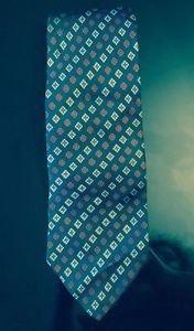 EUC VTG  100% Silk Yves Saint Laurent Dark Blue Green w/ Floral Print Tie