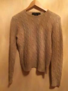 Pre-owned Ralph Lauren Black Label 100% Cashmere Beige Cableknit Sweater SZ M