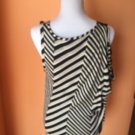 SONIA RYKIEL Cotton Blend Black White Striped Sleeveless Blouse SZ F 42 FRANCE