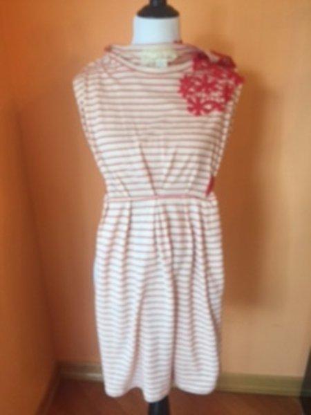 ANTHROPOLOGIE NICK & MO Cotton Beige Red Striped Dress Floral Applique SZ M