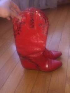 VTG CHARLES DAVID Red Leather Inlay  Cowboy Boots SZ 39.5 Made in Italy