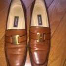 Pre-owned BALLY Caramel Brown Leather Loafers Gold Buckle SZ 8.5 N Made in Italy