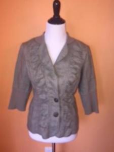 XCVI Light Grey 100% Ramie Ruffle Detail Two Button Jacket SZ XL Juniors Girls