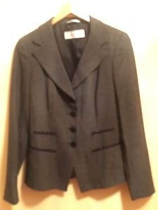 Pre-owned MAX MARA 100%  Virgin Wool Black w/ White Stitch Pattern Jacket SZ 6