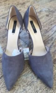 NWT ZARA Basic d'Orsay Gray Faux Suede Pump SZ US 10 Career