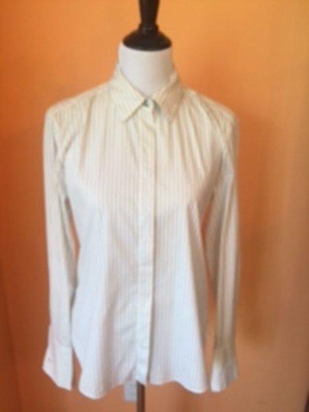 Pre-owned MAX MARA WEEKEND White Cotton  Button Down Shirt Black Pinstripe SZ L
