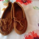 MINNETONKA Moccasins Caramel Brown Suede w/ Suede Tie Front Detail SZ 8