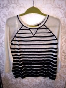 Pre-owned Cynthia Rowley Linen Blend Black White Striped Knit Top SZ M
