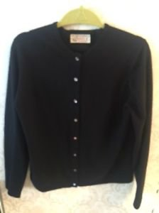 Pre-owned CASTLE of Ireland 100% Cashmere Black Cardigan Glass Buttons SZ 40 (M)