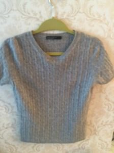 EUC Lord & Taylor Heather Gray Sweater Two Ply Cashmere Short Sleeve SZ S