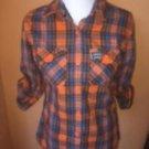 Pre-owned SUPERDRY Orange Blue Plaid Cotton Button Down Shirt SZ L