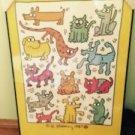 EUC Keith Haring Broward County Humane Society poster RARE Silkscreen 1987 Frame