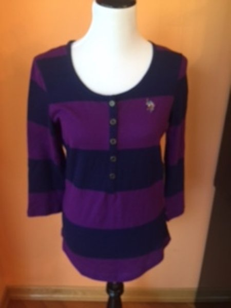 NWT U.S. POLO ASSN. Navy Purple Striped Long Sleeved Shirt SZ M 100% Cotton