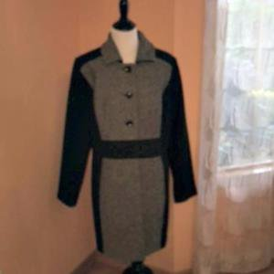 NWOT DRESSBARN Gray  Black  Houndstooth Wool Blend Coat SZ 1X Plus Size Fall