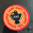 VTG Camp Croft Spartanburg District Camporee Patch 1963 Bird Detail