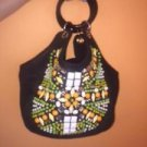 CHLOE Black Canvas Multicolor Purse Bead Front Leather Covered Hoop Handle ITALY