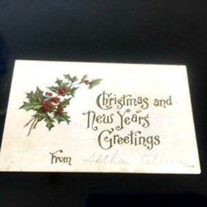 VTG Christmas and New Years Greetings Post Card Mistletoe 1911 Written Note Unse