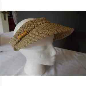 Nine & Co Ninewest Visor Tennis Hat  Bamboo Detail Velcro Fastening SZ S