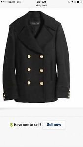 Balmain x H&M Double Breasted Black Wool Peacoat SZ US 12/42 EUR Military Winter