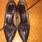 EUC FERRAGAMO Brown Pumps Heels Shoes Contrast Stitching SZ 7C Italy