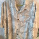 EUC TOMMY BAHAMA Silk Blend Gray & White Abstract Print Button Down Shirt SZ XL