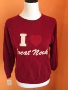 VTG I LOVE Heart GREAT NECK Long Island Cotton Blend Red Sweatshirt SZ M Fits S