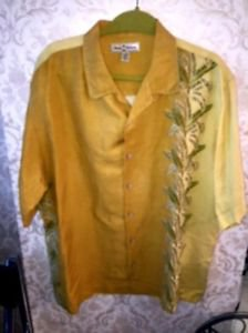 Pre-owned TOMMY BAHAMA Yellow Button Down  Leaves Silk Linen Blend Shirt SZ XL