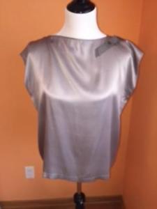 Les Copains Gray 100% Silk Satin Sleeveless Blouse Grosgrain Ribbon  SZ IT 46