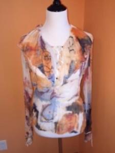 Just Cavalli  Roberto Cavalli 100% Silk  Multi-color Tie Front Blouse SZ IT 46