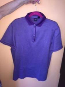 NWOT Boss by HUGO BOSS Plum Honey Comb Print 100% Cotton Polo Shirt SZ XL