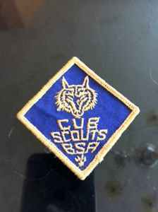 VTG BSA Patch Blue Diamond Cub Scouts Wolf Estate Sale Find Camping Americana