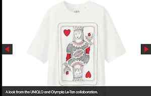 NWOT Olympia Le Tan x Uniqlo White 100% Cotton Queen of Hearts Card T-Shirt SZ M