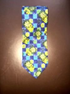 EUC Romeo Gigli Blue Green Yellow Abstract Floral  Mosaic 100% Silk Tie Italy