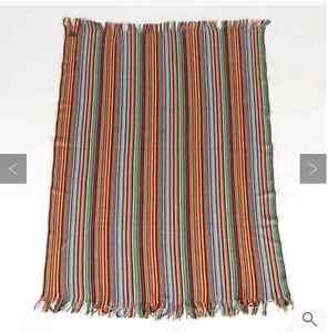 Barneys New York 100% Lambs wool Throw Multicolor Striped Home Decor Germany