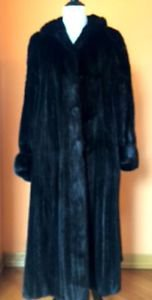 EUC VTG Black Ranch  Mink Fur Long Coat Long Sleeve Elegant SZ M Germany
