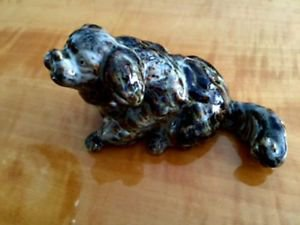 EUC Porcelain Ceramic Gray Dog Small Cocker Spaniel Mutt