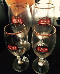 4 NWOB Stella Artois Gold Rimmed Glass Chalice Cups (2) 33cl & (2) 15cl Barware