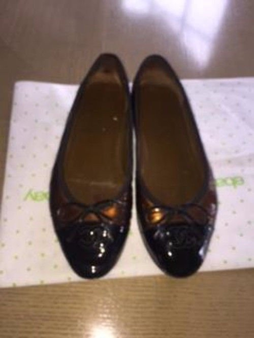 VGC CHANEL Patent Leather Bronze & Black Cap Toe  Ballet Flats SZ 37