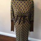 NWOT JEAN PAUL GAULTIER MAILLLE FEMME Geometric Print Raglan  Sleeve Dress SZ M