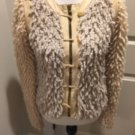 Pre-owned RAG& BONE Collarless Leather Trimmed Shaggy Knitted Wool Jacket SZ S
